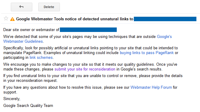 Google Webmaster Tools Notification