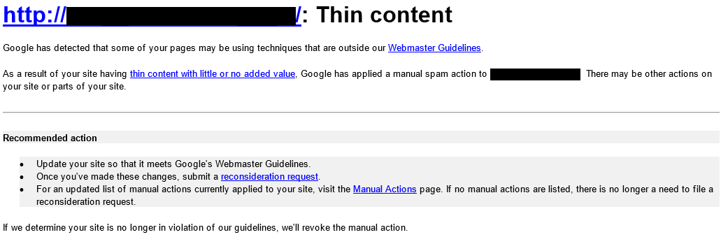 Thin Content Google Penalty