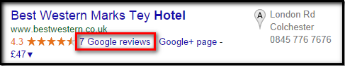 Google + result for search term hotell