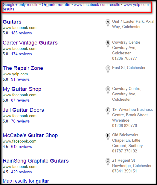 Focus on the user extension results for guitar
