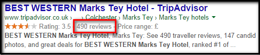 Organic search result for hotel on trip advisor