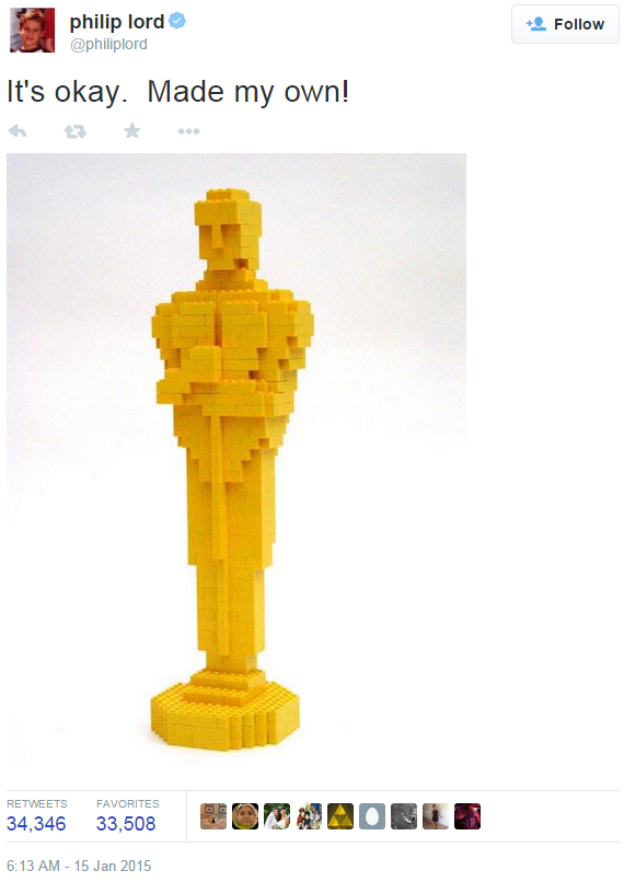 The Lego Movie 'Oscar Snub' - Summing up Lego's potential social media reach with 34k+ Retweets to go with a whole bucket-load of outrage. 'Not awesome' was the consensus.