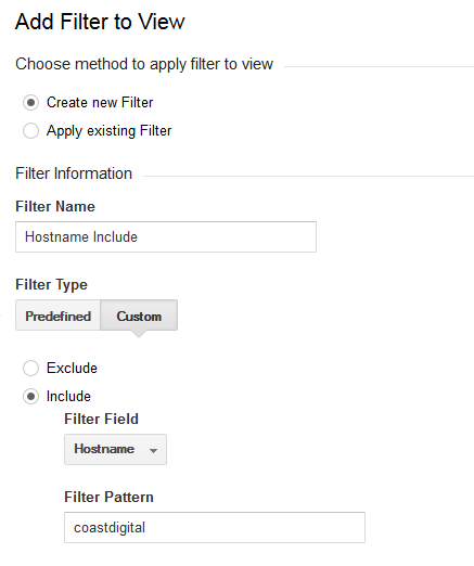 setup a new filter to specifically to include data relevant to your hostname
