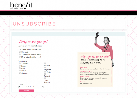benefit unsubscribe