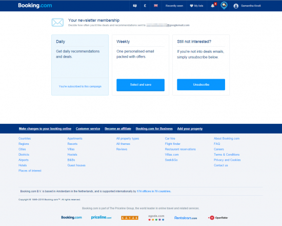booking.com unsubscribe