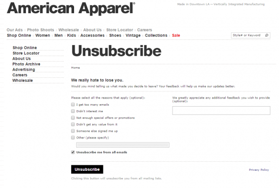 american apparel unsubscribe