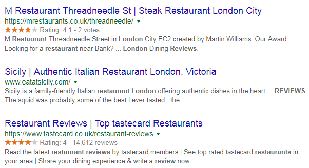 Google search snippet with star ratings