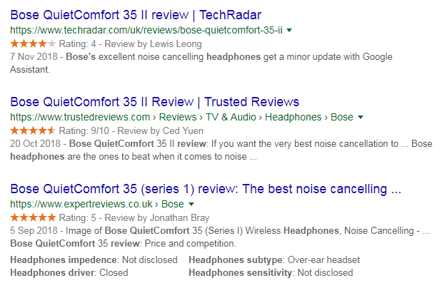 Searching Google for alternative reviews