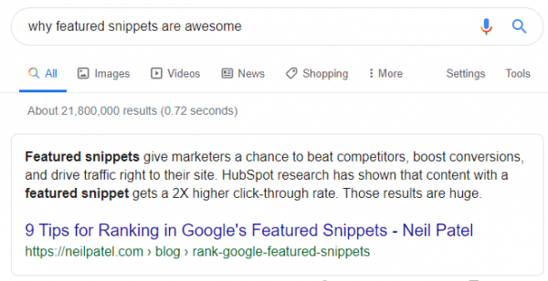 "An example of featured snippets, showing the result for ""why featured snippets are awesome"""