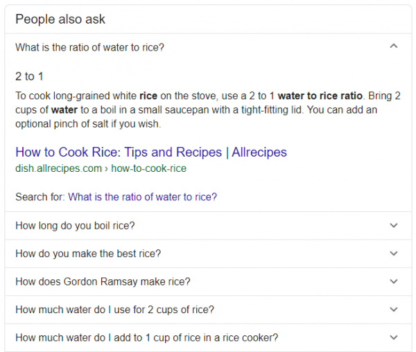 "Google ""People also ask"" example within the SERPs"