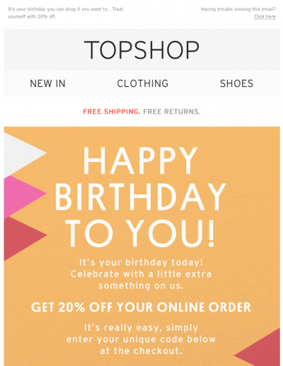 Topshop Happy birthday email. Offering a 20% discount online