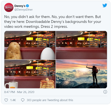 Denny's Twitter post on downloadable backgrounds