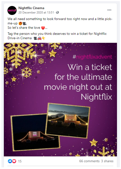 Nightflix Cinema post encouraging Christmas cheer during the holiday period