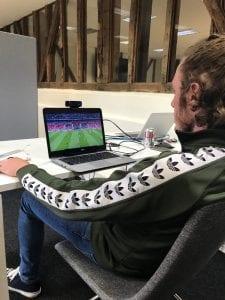 Rob watching football while hooked up to biometrics equipment