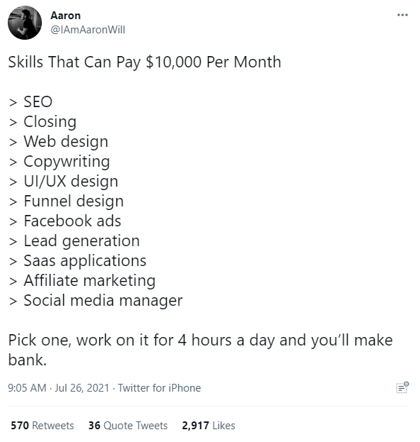 Skills that pay £10,000 per month