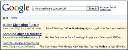 Screenshot of Google search results featuring their own PPC ad