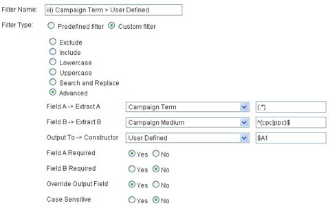 User defined campaign term