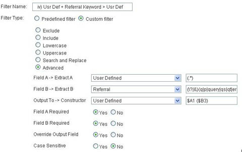Usr Def + referral keyword