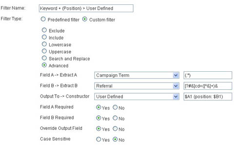 Keyword and position - user defined