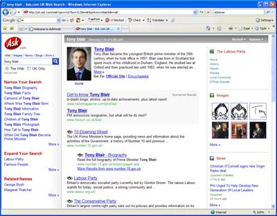 Ask search engine results page