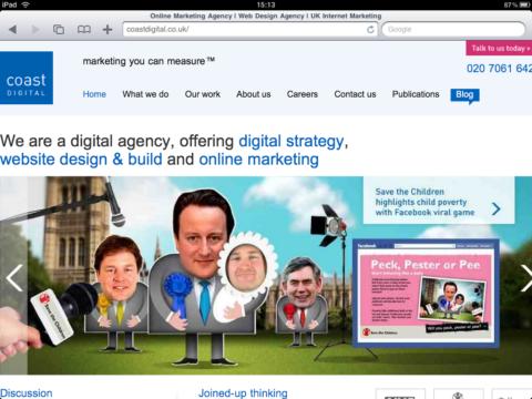 Coast website screenshot from iPad