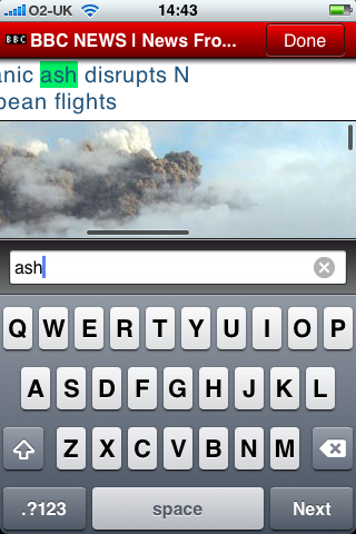 Text search in Opera Mini