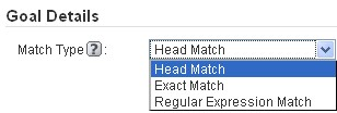 Goal details - head match, exact match, regular expression match