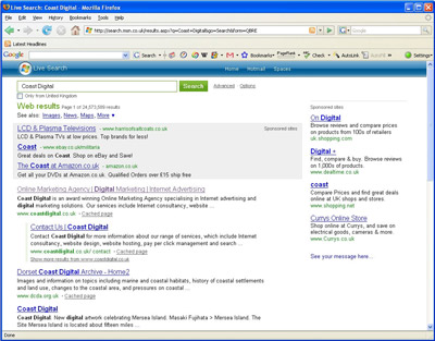 MSN new version Live Search page
