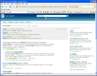 MSN old-style live search page
