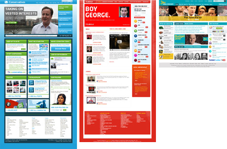 Websites of the UK's three main political parties.
