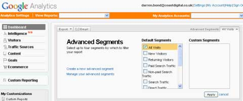 Advanced Segments Setup