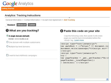 Google Analytics: tracking instructions