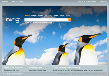 Bing front page