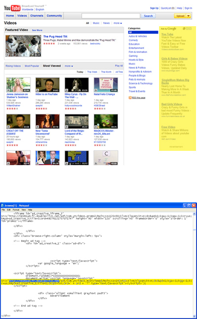 Screen shot of source code from a Youtube page & the 'ads by Google' source code