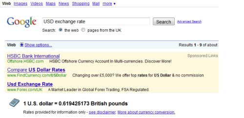 Google as exchange rate calculator
