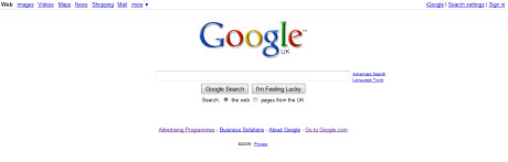 Old Google home page