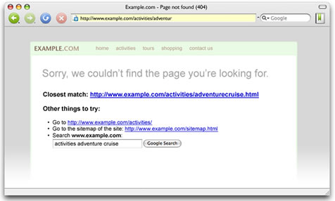 Screenshot of 404 error page from Google webmaster tools