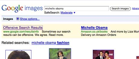 Google's ad above the offensive Michelle Obama search results page