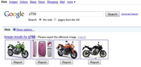 Google image reporting
