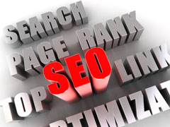 SEO - word in red