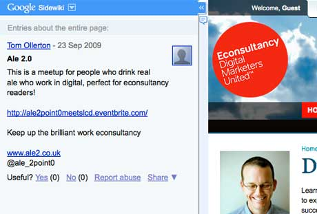 Econsultancy sidewiki comments